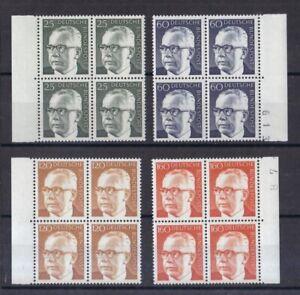 BRD-1971-postfrisch-4er-Block-MiNr-689-692-Bundespraesident-Gustav-Heinemann