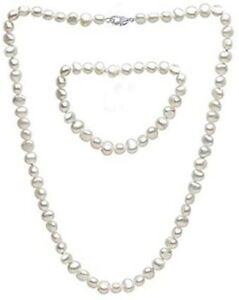 8-9mm Natural Baroque Pearl Necklace, Bracelet and Earrings Set for Women