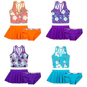 Mädchen Tankini Outfit Tank Top+Biniki Slip+Rock Badeanzug Sommer Badebekleidug
