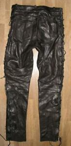 GENUINE-LEATHER-SCHNUR-LEDERJEANS-Biker-Lederhose-in-schwarz-ca-W32-034-L34-034