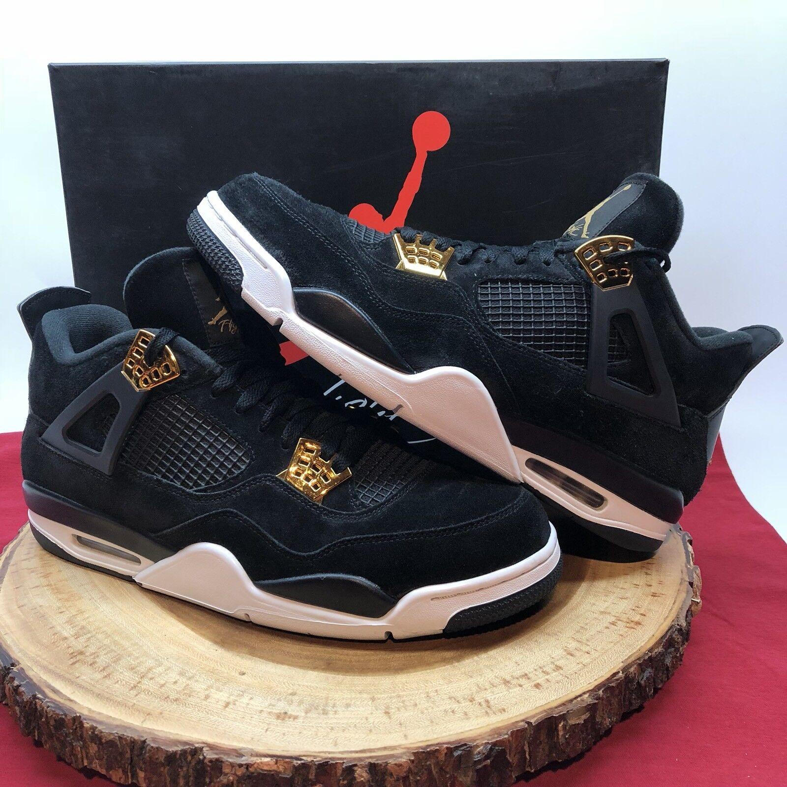 9b6b41df81f0 Nike Air Jordan Jordan Jordan Retro IV Royalty Black Suede Gold Size 13  308497 032 6c5a64