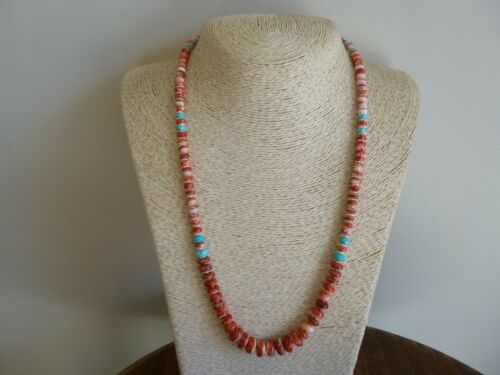 Heishi Necklace with Spiny Oyster Amethyst Mother of Pearl Turquoise