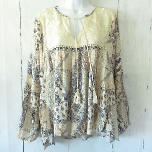 New-Angie-Peasant-Top-S-Small-Ivory-Floral-Embroidered-Crochet-Lace-Boho