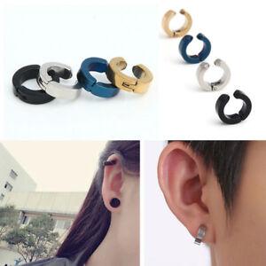 Men-Titanium-Steel-Magnetic-Clip-On-Earrings-No-Piercing-Charm-Hoop-Earrings-New