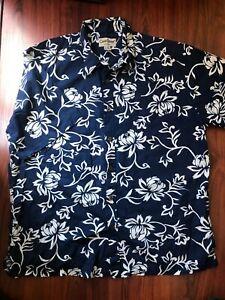 Cooke-Street-Honolulu-Navy-Blue-Floral-Button-Down-Hawaiian-Shirt-Size-XL