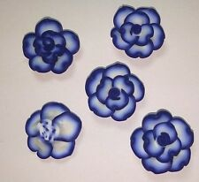 20 Fimo Polymer Clay Blue White Flower Rose Fimo Beads 25mm