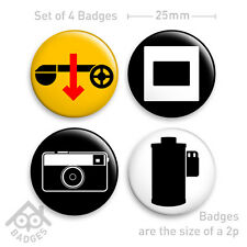 "KODAK Camera Film SLIDE 110 Instamatic X-15 - 1"" Badge - Set of 4 x 25mm Badges"