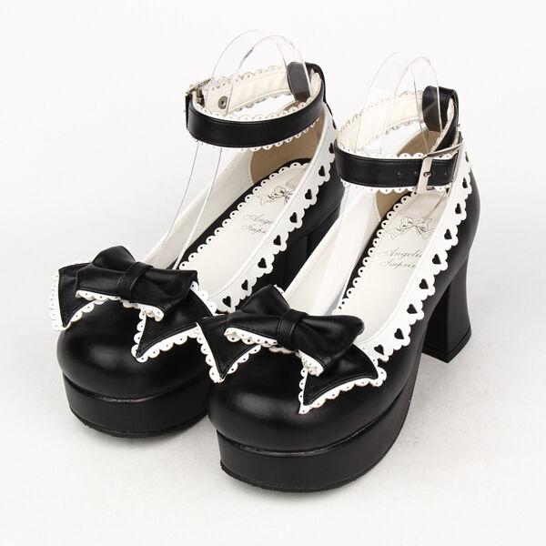 Schwarz Gothic Goth Lolita Damen-schuhe Pumps Plateau High heel Cosplay Kostüme