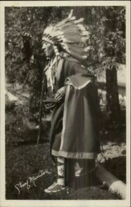 Native-American-Indian-Chief-Manitou-c1910-Real-Photo-Postcard-1-EXC-COND