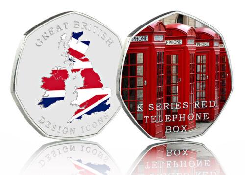 RED TELEPHONE BOX Full Colour Silver Commemorative GREAT BRITISH DESIGN ICONS