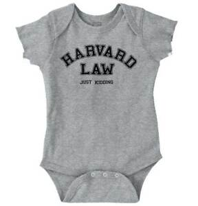 Harvard Law Just Kidding Funny Shirt | Cute Baby Clothes Gift Romper Bodysuit