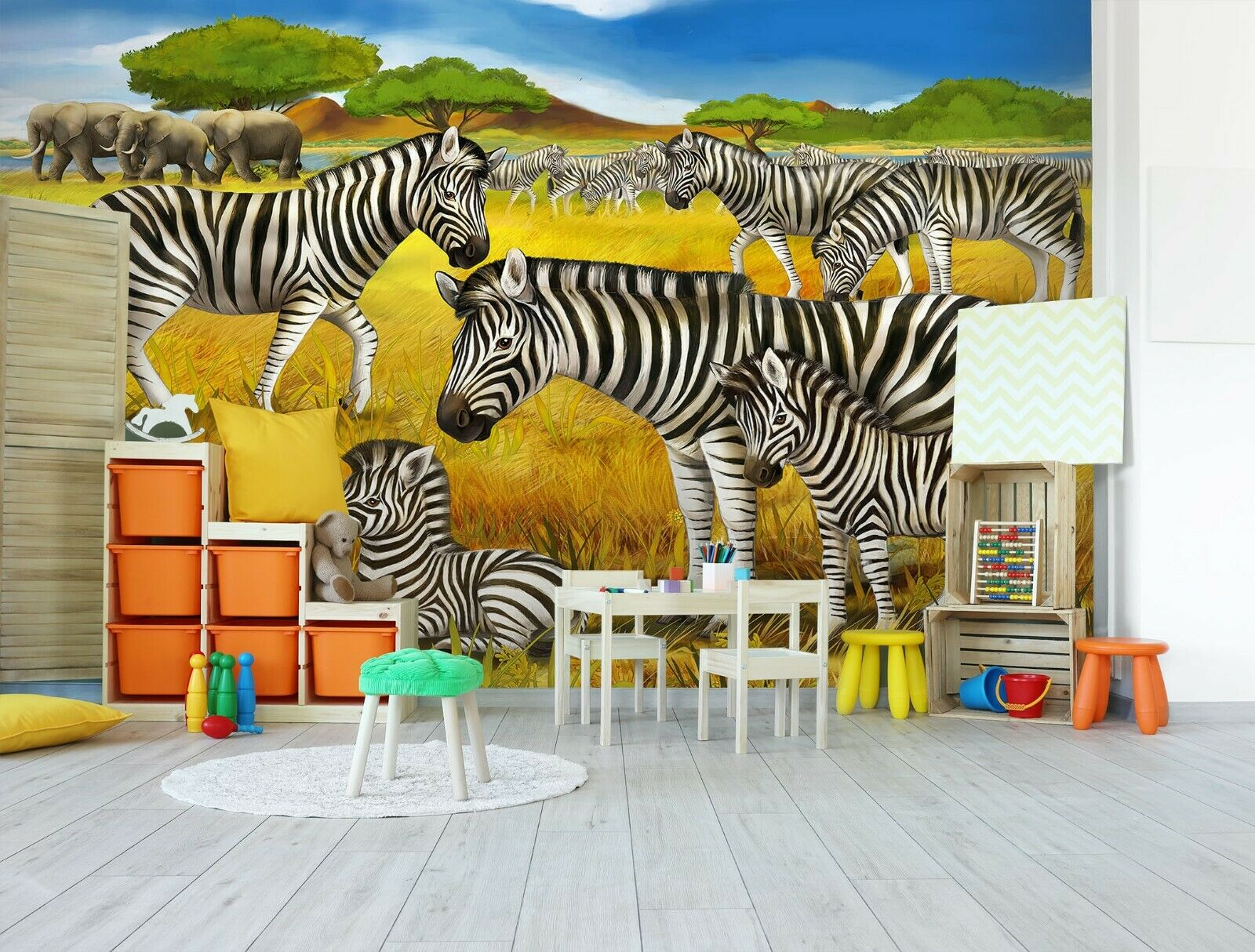 3D Zebra Elephant R303 Business WandPapier Wand Mural Self-adhesive Commerce An