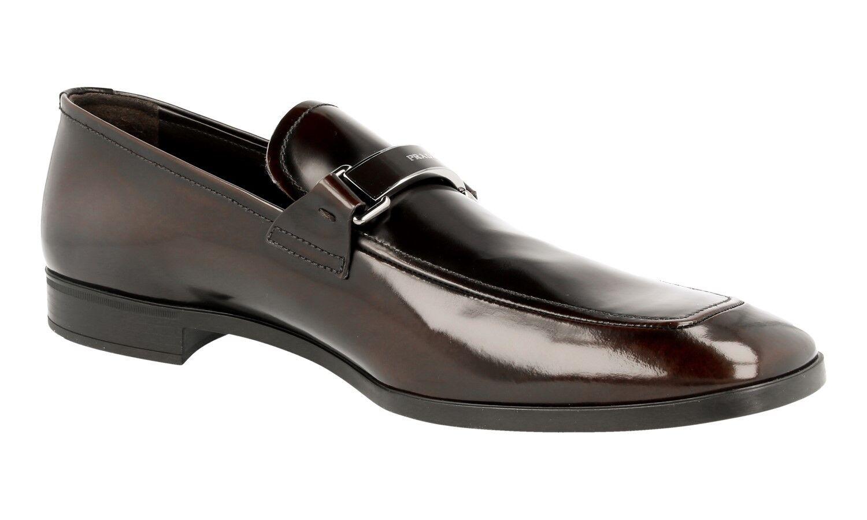 LUSSO Scarpe 2dc100 Prada Business 2dc100 Scarpe LOGO Fermaglio Marrone Nuovo New 8,5 42,5 43 37bb19