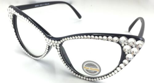 Bling Cat Eye Glasses with Clear Non Prescription Lenses and Austrian Crystals