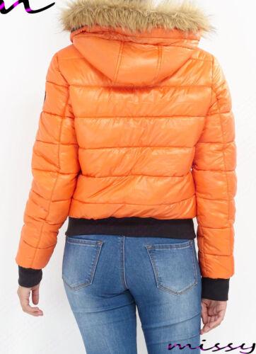 Mujer Chaqueta Acolchada Guateado Burbuja Capucha de Piel Abrigo Invierno Cálido