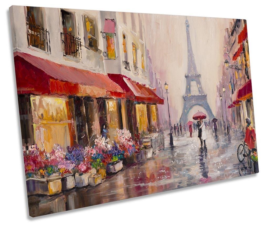 Eiffel Tower Street Scene Framed SINGLE CANVAS PRINT Wall Art