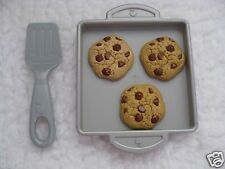 FISHER PRICE FOOD BAKING PAN COOKIE SHEET SPATULA CHOCOLATE CHIP COOKIES ● RARE