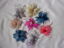 BULK BUY  Quantity Mixed Colour Feather Flowers  Millinery Hat Fascinator Craft