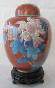 8-034-Chinese-Beijing-Cloisonne-Cremation-Urn-Red-Floral-New