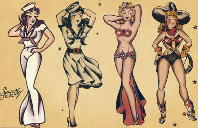A1 A2 A3 Sailor Jerry Aloha Girl Tattoo Vintage Large Poster A4 sizes