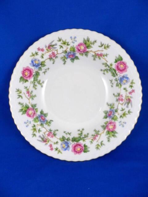 "Rimmed Soup Bowl:Franconia Krautheim Germany-Mandarin Pink/Blue Floral+Birds- 8"""