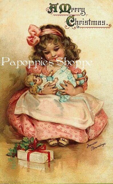 Christmas Fabric Block Vintage Victorian Girl Pink Dress Frances Brundage Doll