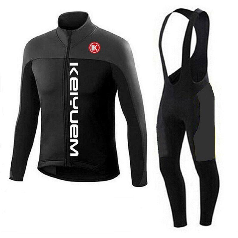 Winter Cycling Jersey Set Thermal Fleece Long Sleeve Bicycle Clothing Cycle Bib