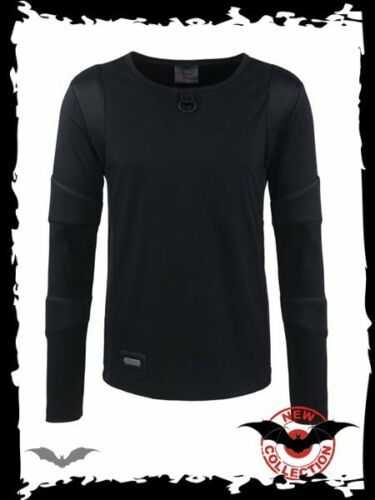 Black Dieselpunk Long Sleeve top with padded arms gothic Queen of Darkness