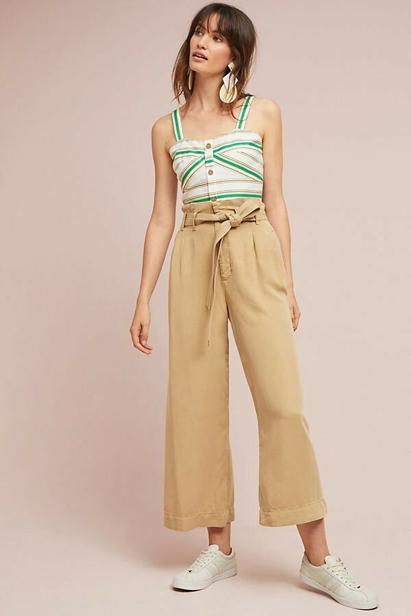 NWT by Anthropologie Blythe Wide-Leg Khaki Casual Pants 0