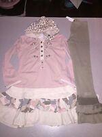Naartjie Spot Floral Ruffle Dress & Rib Bell Ruffle Leggings Set Size 8