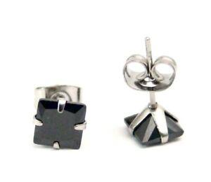 Black-Stud-Earrings-Hypoallergenic-Surgical-Steel-Square-Princess-cut-6-mm