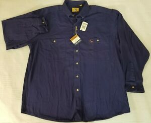New-with-Tags-Duck-Head-Men-039-s-100-Cotton-Long-Sleeve-Marine-Blue-Shirt-Size-XL
