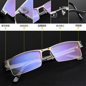 High-quality-Men-039-s-Half-frame-Style-Blue-Film-Anti-radiation-Reading-glasses-New