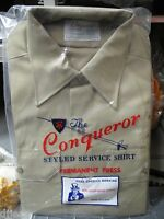 Conqueror Khaki Police Uniform Shirt Long Sleeve Size Mens 14 X 5 W/badge Holes