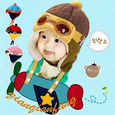 Lovely Winter Baby Toddlers Girl Boy Kids Pilot Aviator Cap Warm Soft Hat Beanie