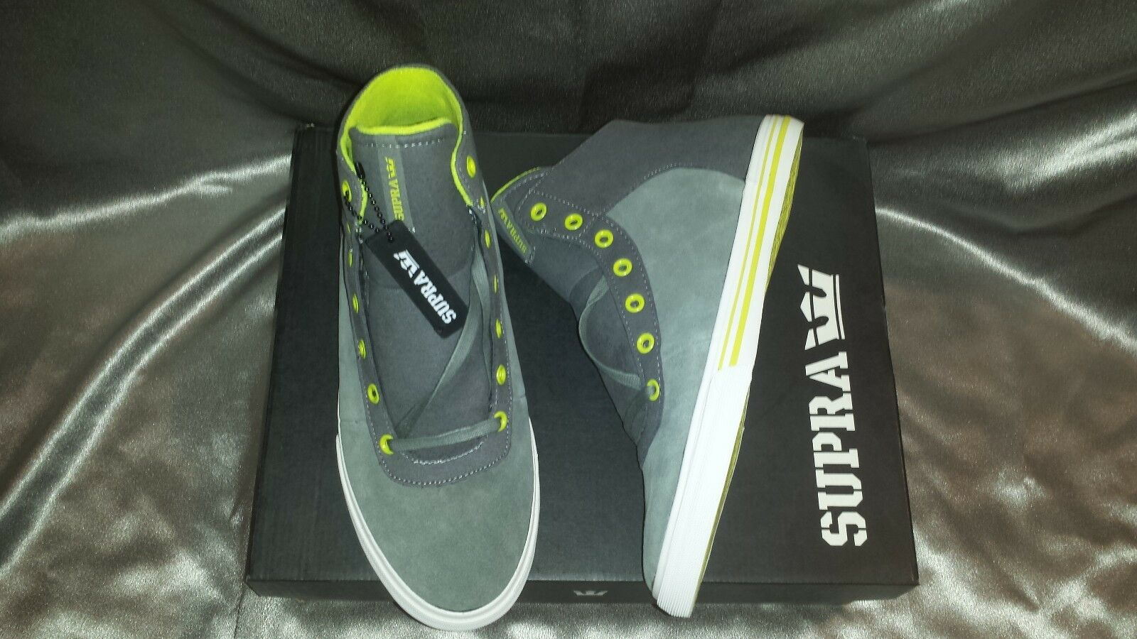 SUPRA CUTTLER GREY SUEDE NEON MAX PACK Uomo SHOES SIZE 11.5 NEW IN BOX