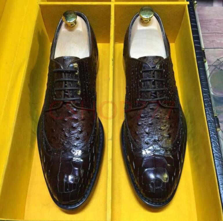Neue Herren Oxford Leder Business geschnitzte formale Schuhe aus Krokodil-Muster