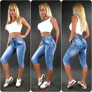 High Waist Capri Jeans Xs S M L XL Zazou Ladies Stretch Shorts Summer Pants B840