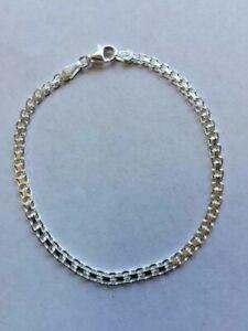 ".925 Argent Sterling 7"" X 3 Mm Large Bismark Style Chaîne Bracelet (bis-50) J 356-afficher Le Titre D'origine"