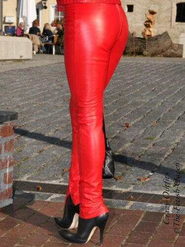 pelle pelle Chiusura Pantaloni in su in rossa misura posteriore Pantaloni Knalleng qH4xfI6w