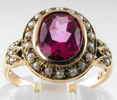 SUBLIME 9CT ARTDECO PINK TOPAZ & PEARL CLUSTER RING