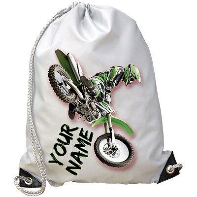 Motocross Mx Personalizzata Palestra / Nuoto / Pe Bag-grande Regalo Per Bambini E Anche Con Nome-