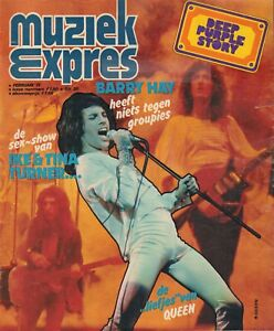 MAGAZINE-MUZIEK-EXPRES-FEBRUARI-1975-QUEEN-DEEP-PURPLE-SPARKS-BARRY-HAY-YES