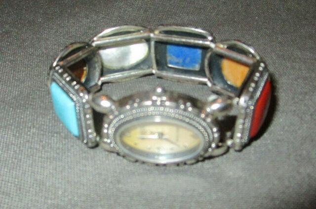 925 Silver (Sterling) Ecclissi Wristwatch Stretch Multi-Stone Wristband