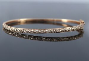 3-800-14K-Rose-Pink-Gold-94-Pave-Set-Round-1-03ct-Diamond-6-5-039-039-Bangle-Bracelet