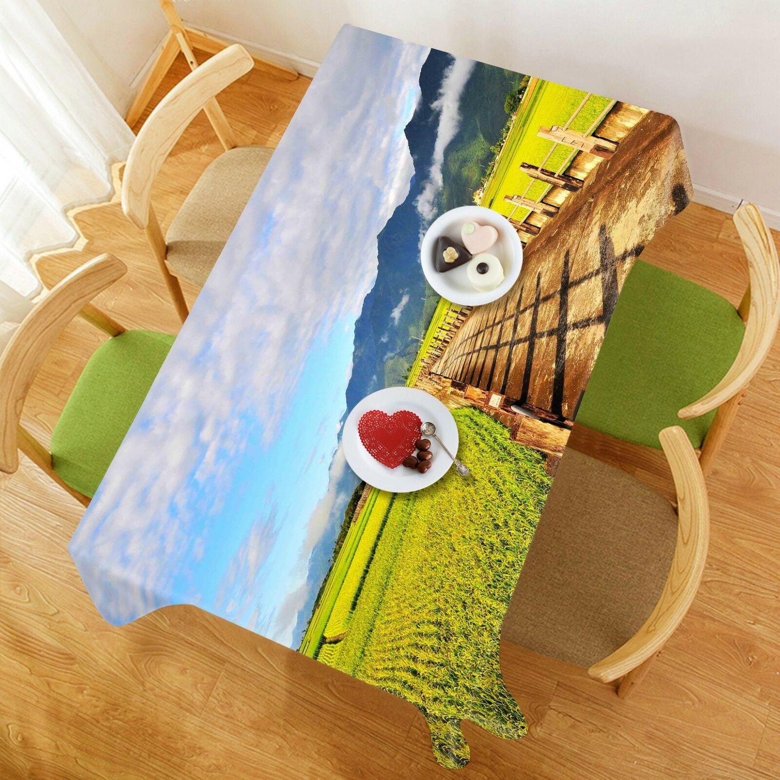 3D Paddy Field 020 Tablecloth Table Cover Cloth Birthday Party Event AJ Summer