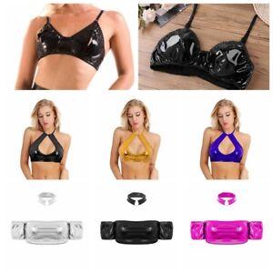 09b05cf99ce703 Womens Leather Off-shoulder Tube Crop Tops Bra Tank Vest Bralette ...