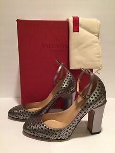 Valentino Bride Cheville Tango Chaussures Cristaux Cuir Etain 37.5 7 ... f97b781675ea