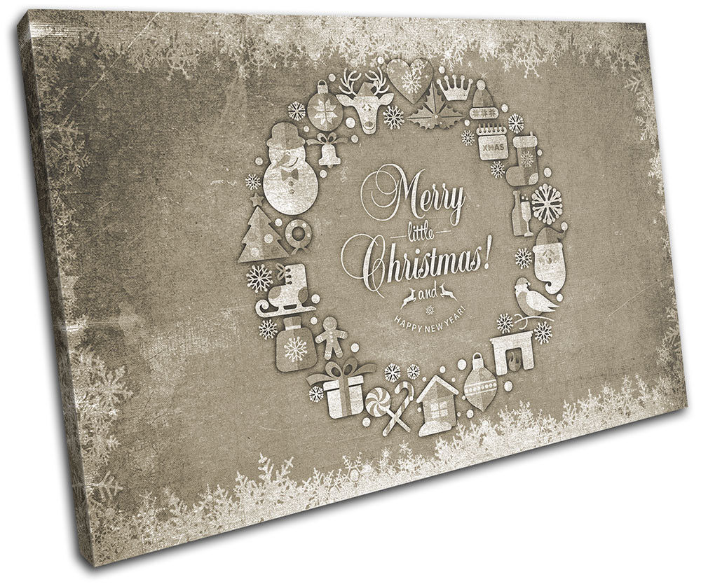 Christmas Decoration Wall Canvas ART Print XMAS Picture Gift Chalk 13 Cream Chri