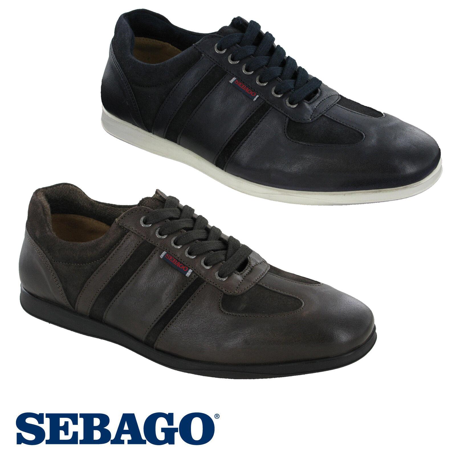 Sebago Reid Lace Up Mens Trainers Leather Low Cut Smart Casual shoes UK8-10.5